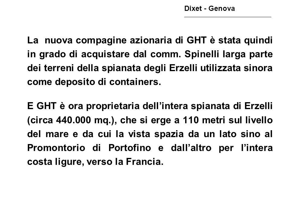 La nuova compagine azionaria di GHT è stata quindi in grado di acquistare dal comm. Spinelli larga parte dei terreni della spianata degli Erzelli util