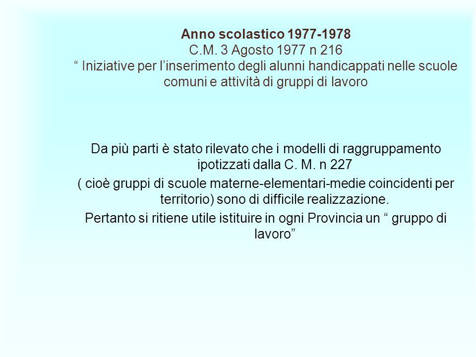 Anno scolastico 1977-1978 C.M. 3 Agosto 1977 n 216 Iniziative per linserimento degli alunni handicappati nelle scuole comuni e attività di gruppi di l