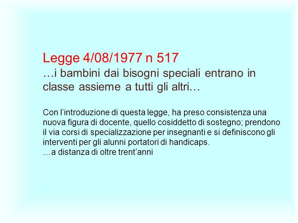 Legge 4/08/1977 n 517 …i bambini dai bisogni speciali entrano in classe assieme a tutti gli altri… Con lintroduzione di questa legge, ha preso consist