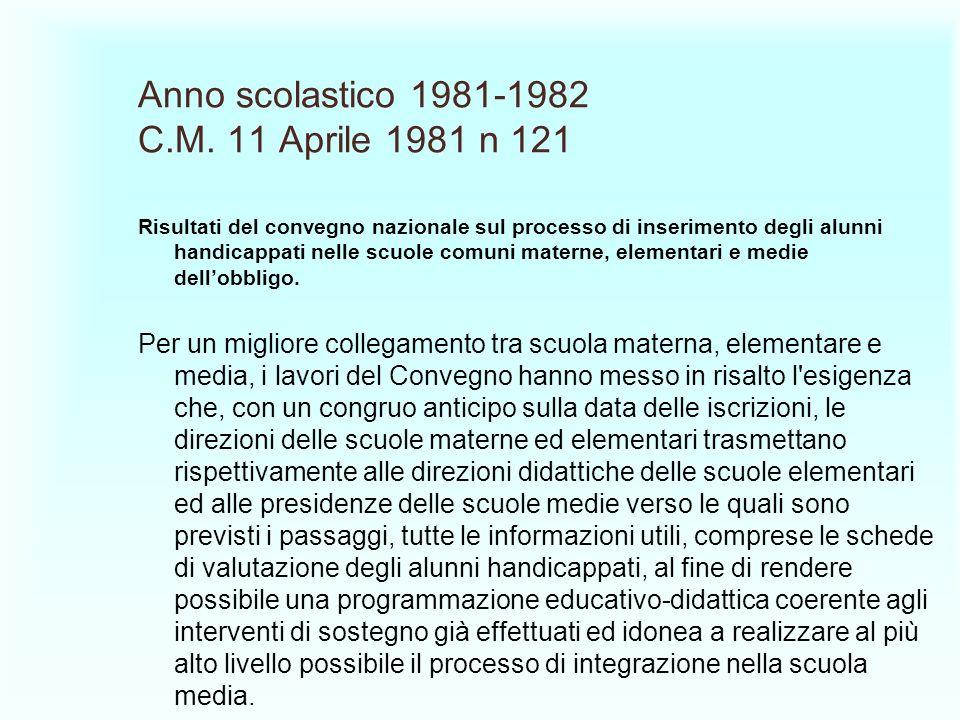 Anno scolastico 1981-1982 C.M. 11 Aprile 1981 n 121 Risultati del convegno nazionale sul processo di inserimento degli alunni handicappati nelle scuol