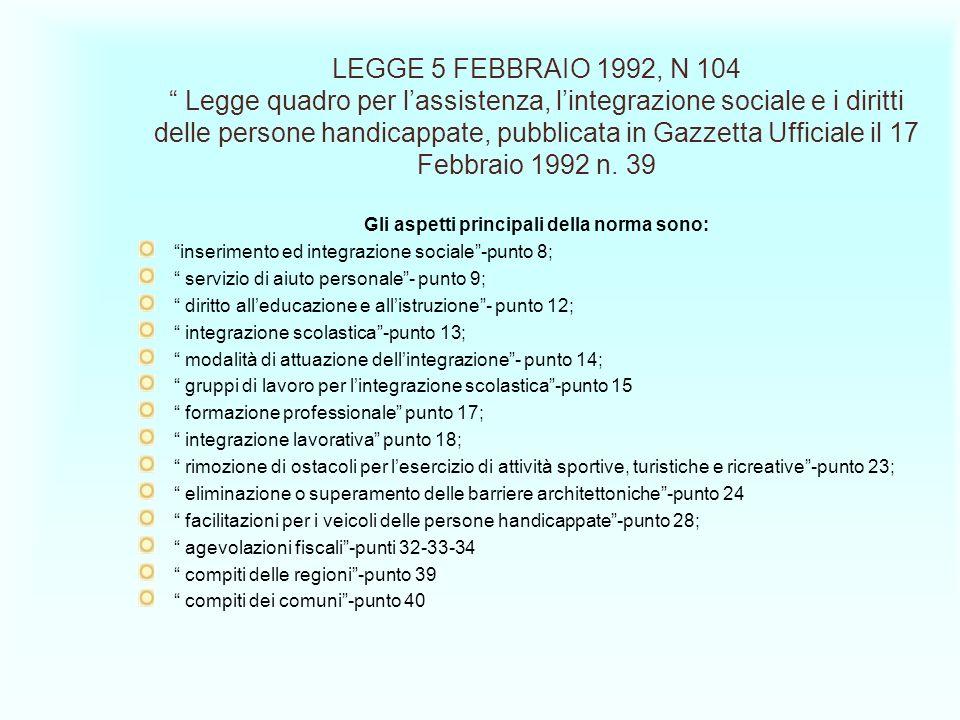 LEGGE 5 FEBBRAIO 1992, N 104 Legge quadro per lassistenza, lintegrazione sociale e i diritti delle persone handicappate, pubblicata in Gazzetta Uffici