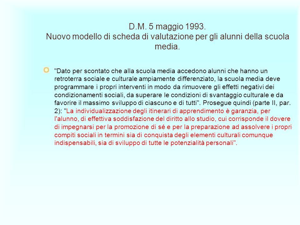 D.M. 5 maggio 1993. Nuovo modello di scheda di valutazione per gli alunni della scuola media.