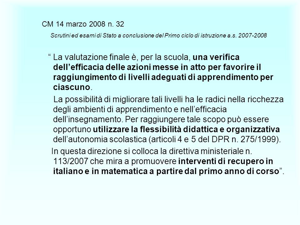 CM 14 marzo 2008 n. 32 Scrutini ed esami di Stato a conclusione del Primo ciclo di istruzione a.s. 2007-2008 La valutazione finale è, per la scuola, u