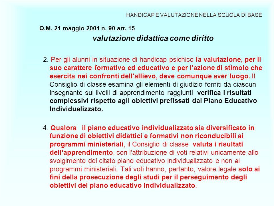 HANDICAP E VALUTAZIONE NELLA SCUOLA DI BASE O.M. 21 maggio 2001 n. 90 art. 15 valutazione didattica come diritto 2. Per gli alunni in situazione di ha