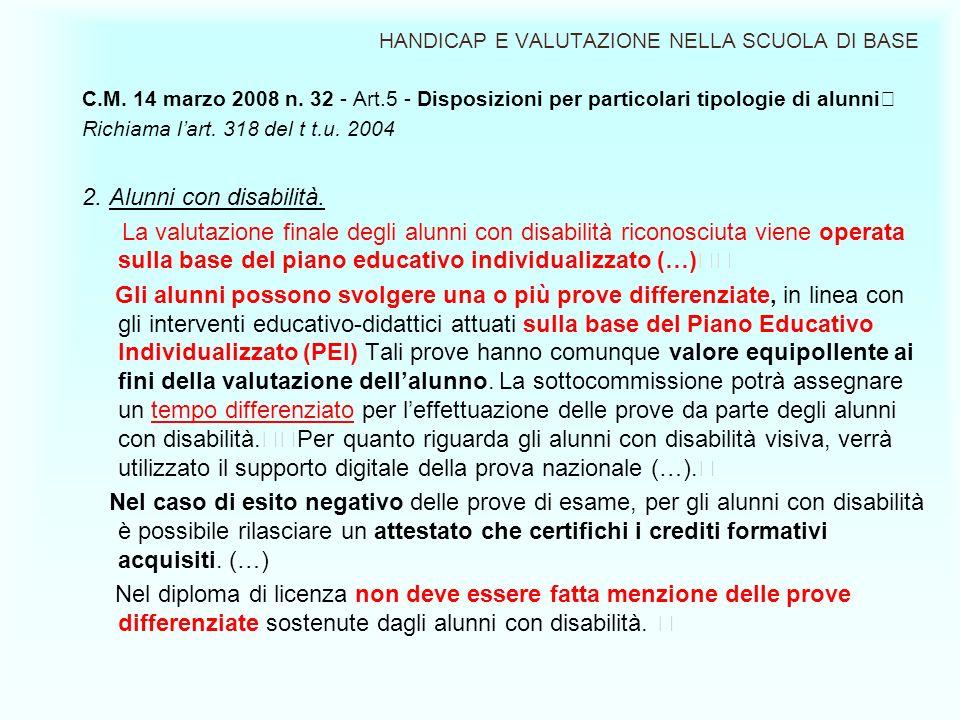 HANDICAP E VALUTAZIONE NELLA SCUOLA DI BASE C.M. 14 marzo 2008 n. 32 - Art.5 - Disposizioni per particolari tipologie di alunni Richiama lart. 318 del