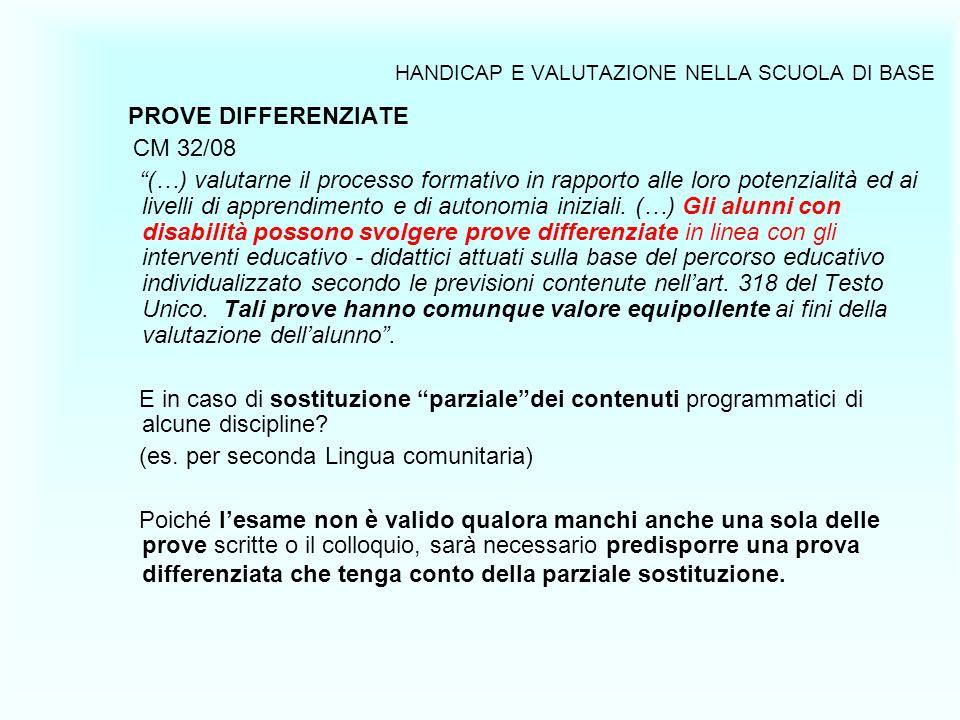 HANDICAP E VALUTAZIONE NELLA SCUOLA DI BASE PROVE DIFFERENZIATE CM 32/08 (…) valutarne il processo formativo in rapporto alle loro potenzialità ed ai