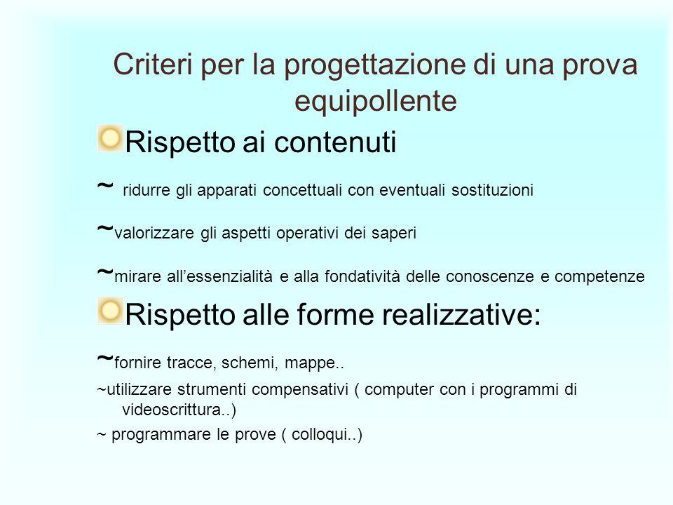 Criteri per la progettazione di una prova equipollente Rispetto ai contenuti ~ ridurre gli apparati concettuali con eventuali sostituzioni ~ valorizza