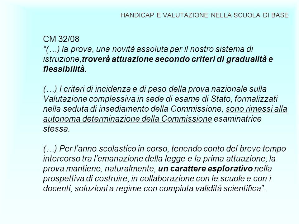 HANDICAP E VALUTAZIONE NELLA SCUOLA DI BASE CM 32/08 (…) la prova, una novità assoluta per il nostro sistema di istruzione,troverà attuazione secondo