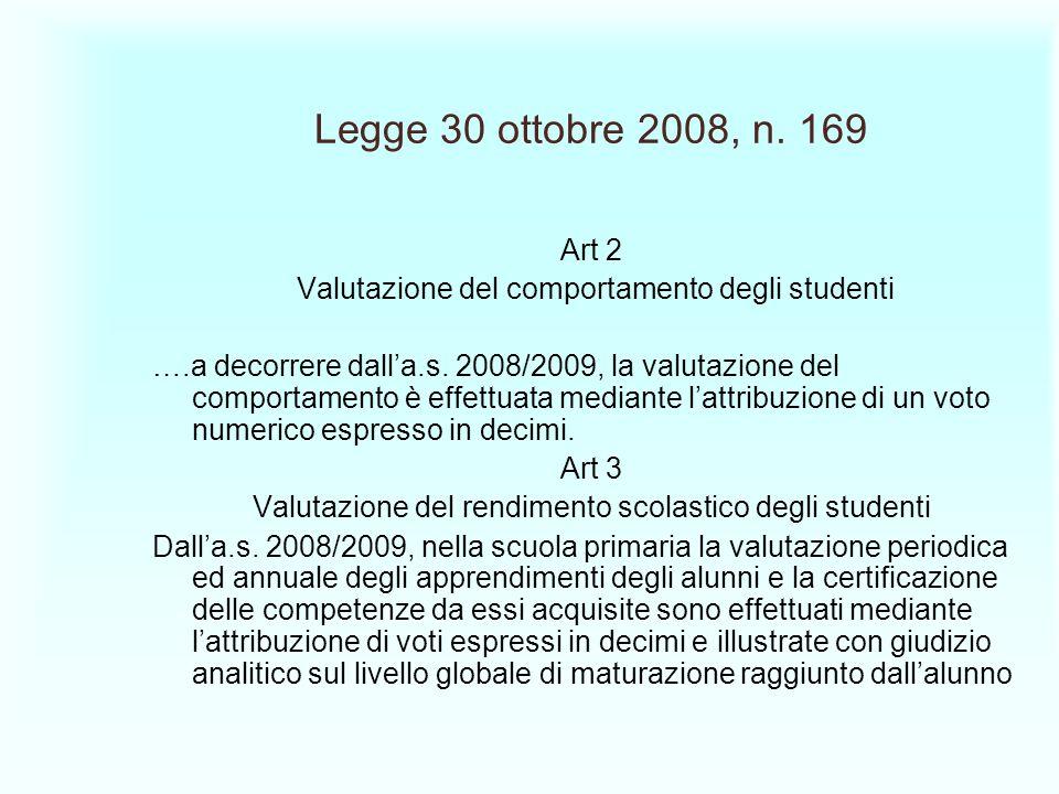 Legge 30 ottobre 2008, n. 169 Art 2 Valutazione del comportamento degli studenti ….a decorrere dalla.s. 2008/2009, la valutazione del comportamento è