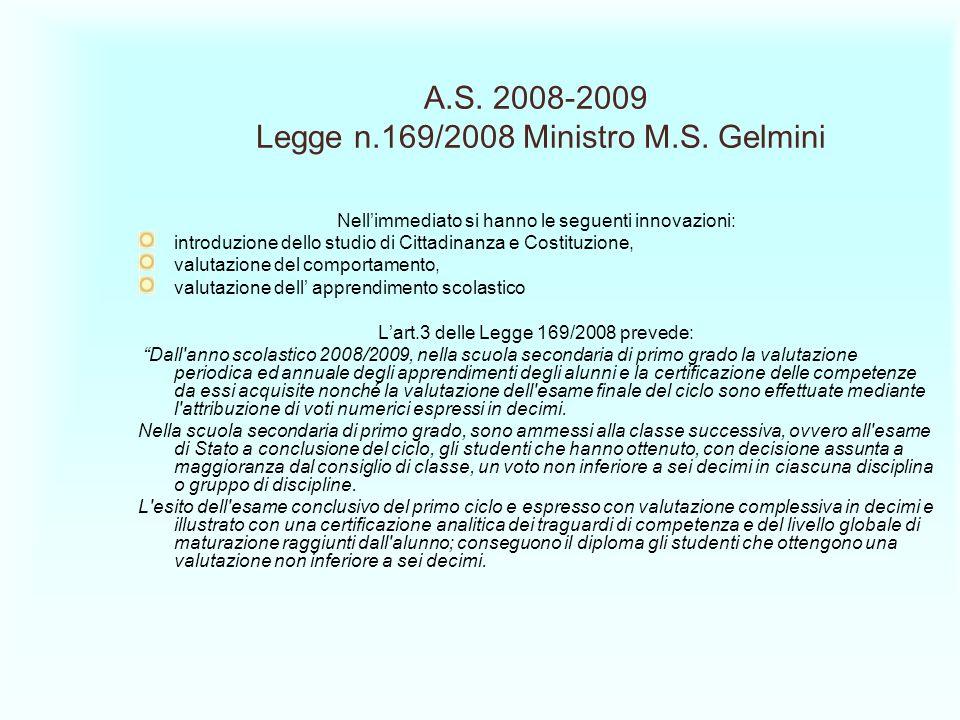 A.S. 2008-2009 Legge n.169/2008 Ministro M.S. Gelmini Nellimmediato si hanno le seguenti innovazioni: introduzione dello studio di Cittadinanza e Cost