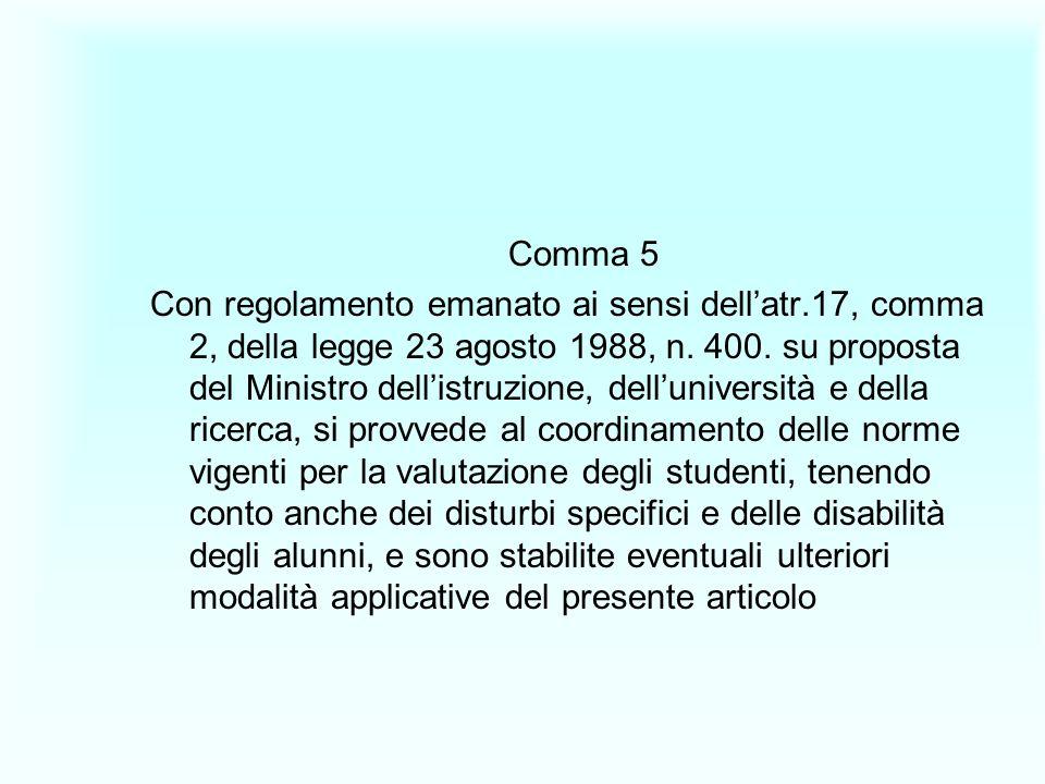 Comma 5 Con regolamento emanato ai sensi dellatr.17, comma 2, della legge 23 agosto 1988, n. 400. su proposta del Ministro dellistruzione, dellunivers