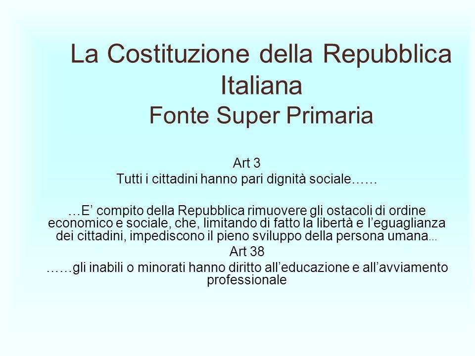 La Costituzione della Repubblica Italiana Fonte Super Primaria Art 3 Tutti i cittadini hanno pari dignità sociale…… …E compito della Repubblica rimuov