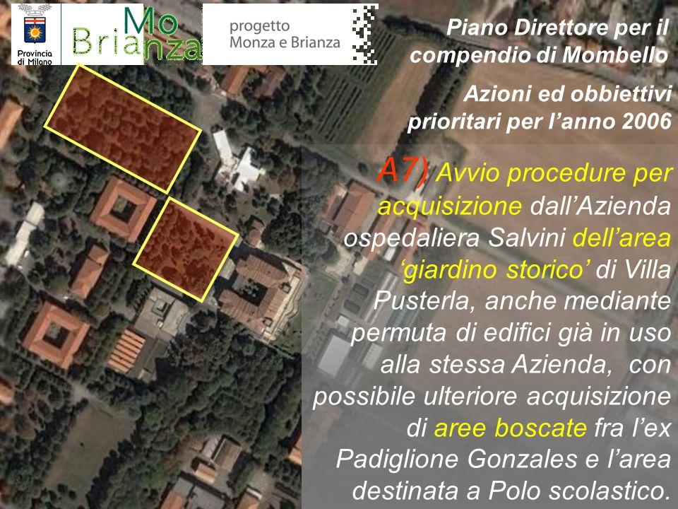 A7) Avvio procedure per acquisizione dallAzienda ospedaliera Salvini dellarea giardino storico di Villa Pusterla, anche mediante permuta di edifici gi