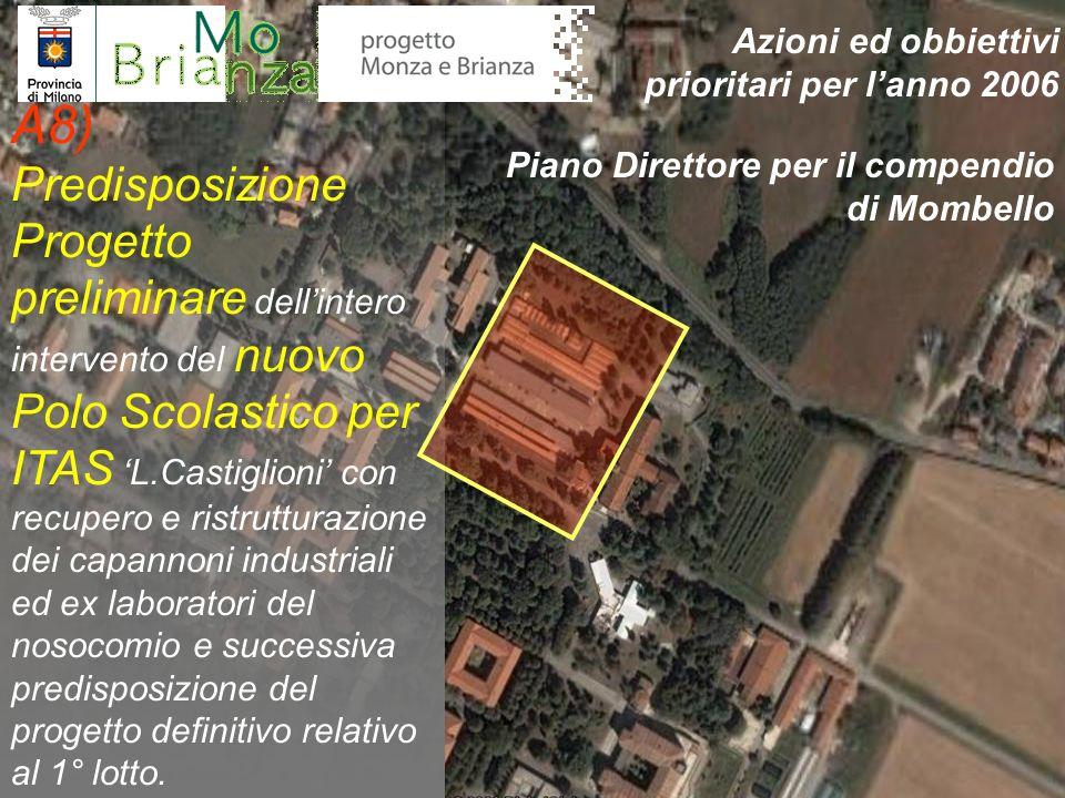 A8) Predisposizione Progetto preliminare dellintero intervento del nuovo Polo Scolastico per ITAS L.Castiglioni con recupero e ristrutturazione dei ca