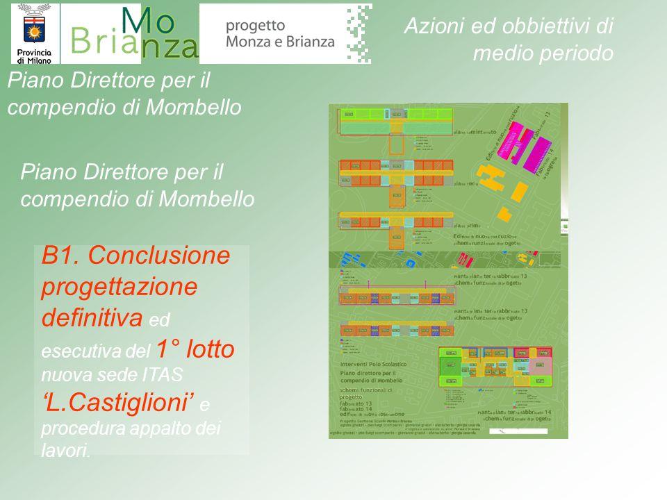 B1. Conclusione progettazione definitiva ed esecutiva del 1° lotto nuova sede ITAS L.Castiglioni e procedura appalto dei lavori. Piano Direttore per i