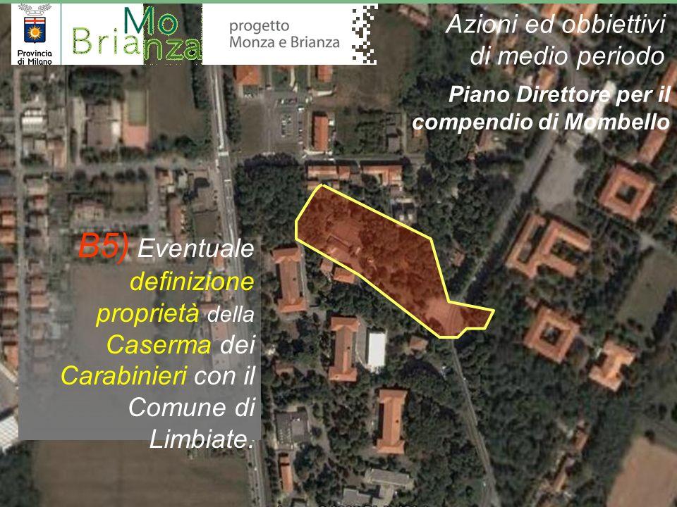 B5) Eventuale definizione proprietà della Caserma dei Carabinieri con il Comune di Limbiate. Azioni ed obbiettivi di medio periodo Piano Direttore per