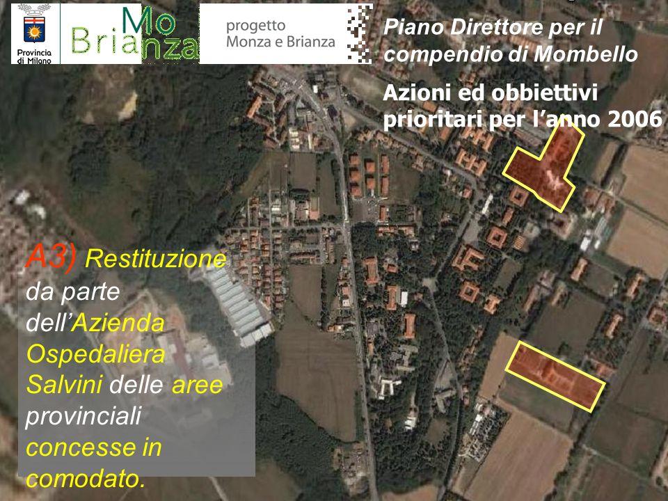 A3) Restituzione da parte dellAzienda Ospedaliera Salvini delle aree provinciali concesse in comodato. Azioni ed obbiettivi prioritari per lanno 2006