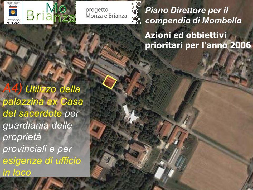 A4) Utilizzo della palazzina ex Casa del sacerdote per guardiania delle proprietà provinciali e per esigenze di ufficio in loco Azioni ed obbiettivi p