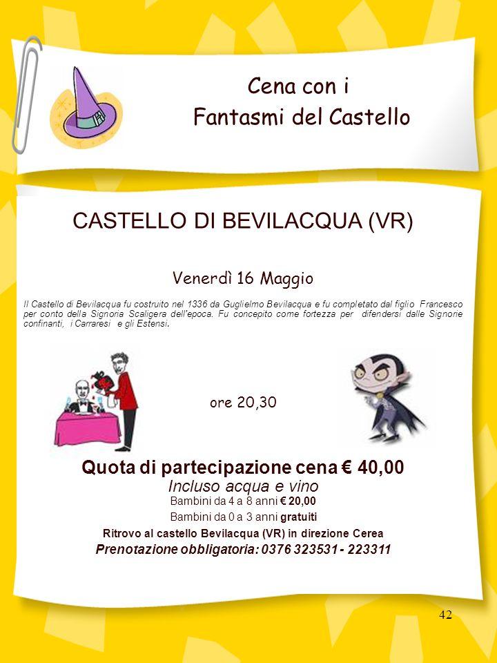 42 CASTELLO DI BEVILACQUA (VR) Venerdì 16 Maggio Il Castello di Bevilacqua fu costruito nel 1336 da Guglielmo Bevilacqua e fu completato dal figlio Francesco per conto della Signoria Scaligera dell epoca.