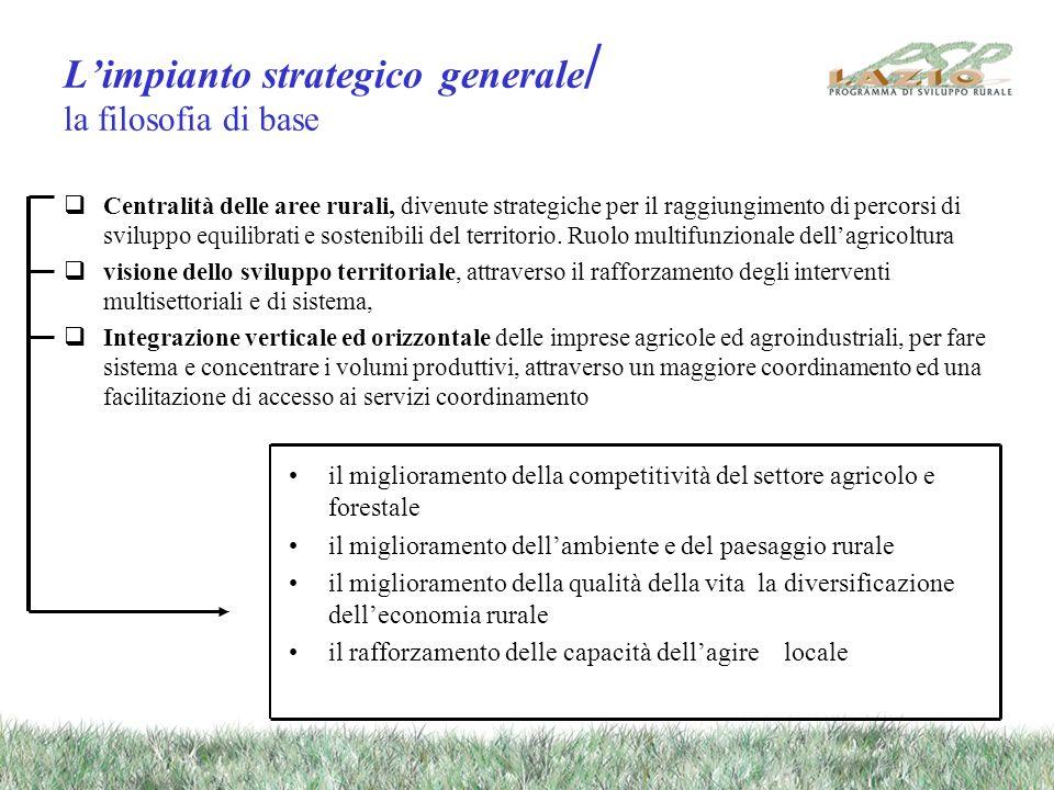 Limpianto strategico generale / la filosofia di base Centralità delle aree rurali, divenute strategiche per il raggiungimento di percorsi di sviluppo