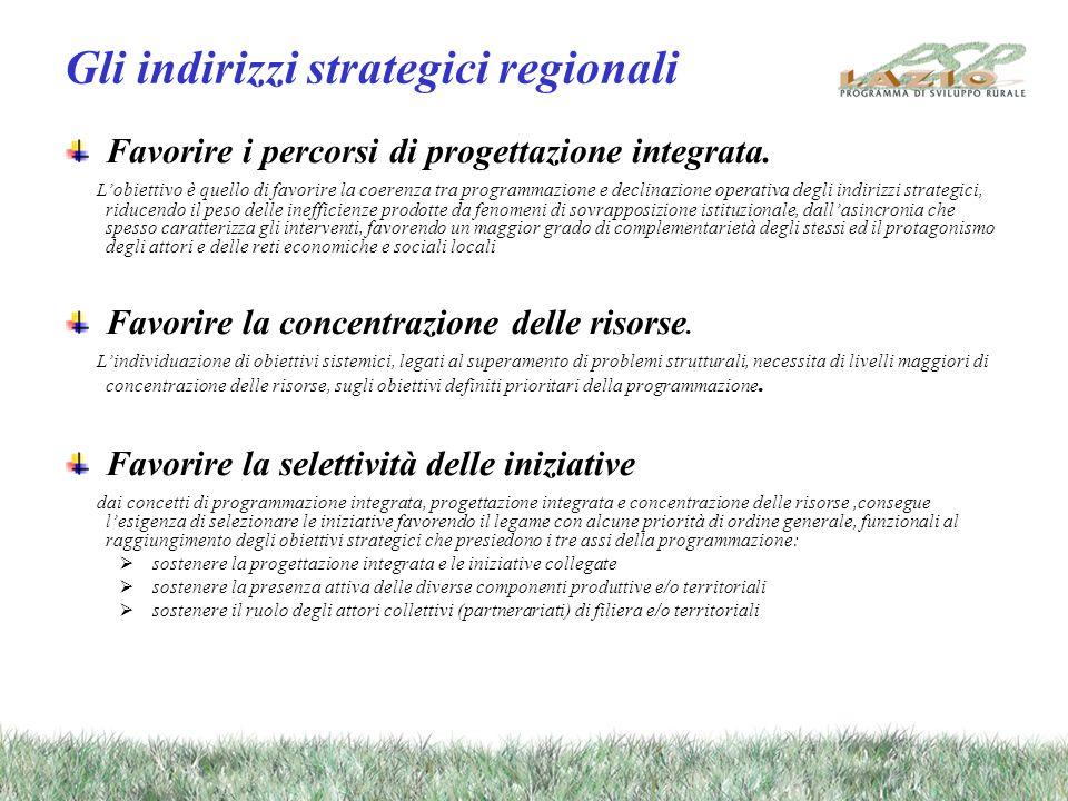 Gli indirizzi strategici regionali Favorire i percorsi di progettazione integrata. Lobiettivo è quello di favorire la coerenza tra programmazione e de