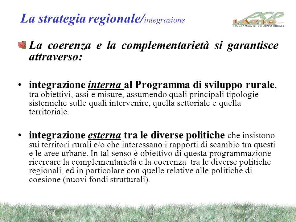 La strategia regionale/ integrazione La coerenza e la complementarietà si garantisce attraverso: integrazione interna al Programma di sviluppo rurale, tra obiettivi, assi e misure, assumendo quali principali tipologie sistemiche sulle quali intervenire, quella settoriale e quella territoriale.