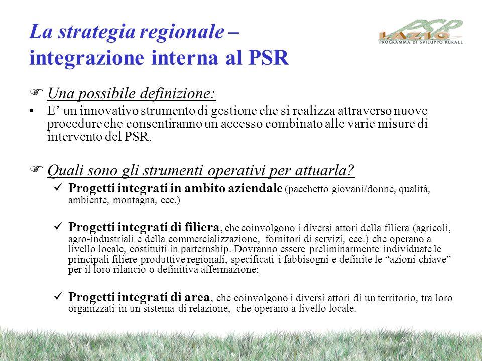 La strategia regionale – integrazione interna al PSR Una possibile definizione: E un innovativo strumento di gestione che si realizza attraverso nuove procedure che consentiranno un accesso combinato alle varie misure di intervento del PSR.