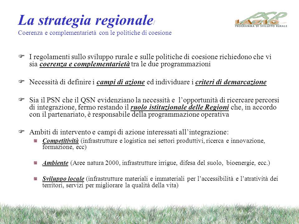 La strategia regionale / Coerenza e complementarietà con le politiche di coesione I regolamenti sullo sviluppo rurale e sulle politiche di coesione richiedono che vi sia coerenza e complementarietà tra le due programmazioni Necessità di definire i campi di azione ed individuare i criteri di demarcazione Sia il PSN che il QSN evidenziano la necessità e lopportunità di ricercare percorsi di integrazione, fermo restando il ruolo istituzionale delle Regioni che, in accordo con il partenariato, è responsabile della programmazione operativa Ambiti di intervento e campi di azione interessati allintegrazione: Competitività (infrastrutture e logistica nei settori produttivi, ricerca e innovazione, formazione, ecc) Ambiente (Aree natura 2000, infrastrutture irrigue, difesa del suolo, bioenergie, ecc.) Sviluppo locale (infrastrutture materiali e immateriali per laccessibilità e latratività dei territori, servizi per migliorare la qualità della vita)