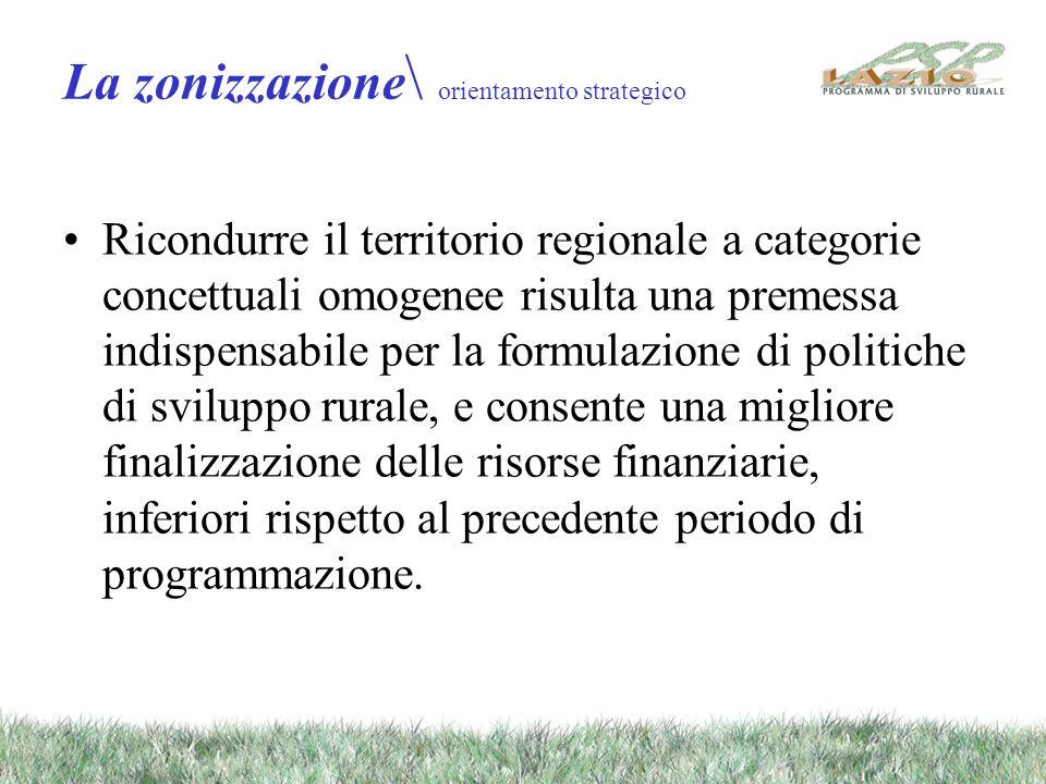 La zonizzazione \ orientamento strategico Ricondurre il territorio regionale a categorie concettuali omogenee risulta una premessa indispensabile per