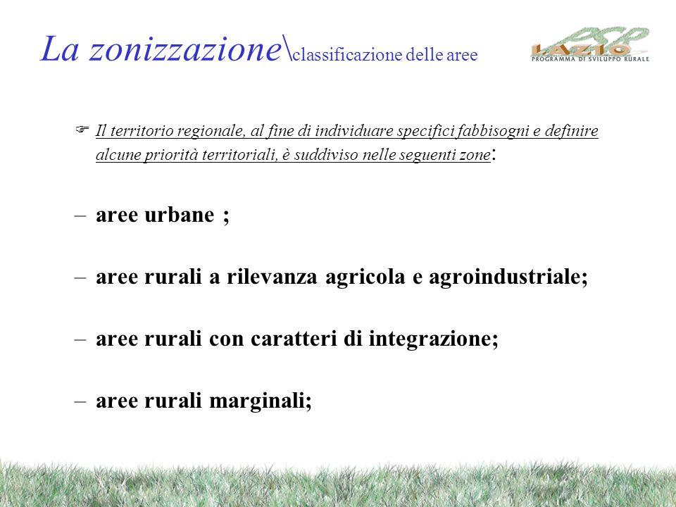 La zonizzazione\ classificazione delle aree Il territorio regionale, al fine di individuare specifici fabbisogni e definire alcune priorità territoria