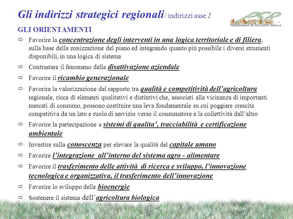 Gli indirizzi strategici regionali / indirizzi asse I GLI ORIENTAMENTI Favorire la concentrazione degli interventi in una logica territoriale e di fil