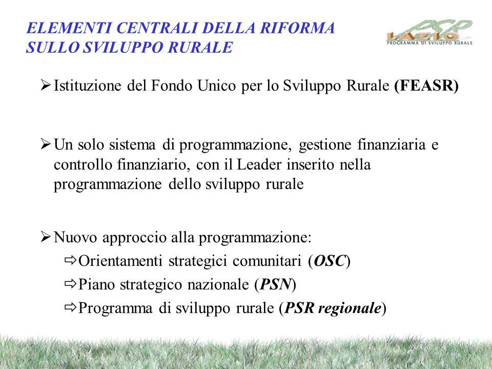 ELEMENTI CENTRALI DELLA RIFORMA SULLO SVILUPPO RURALE Istituzione del Fondo Unico per lo Sviluppo Rurale (FEASR) Un solo sistema di programmazione, ge
