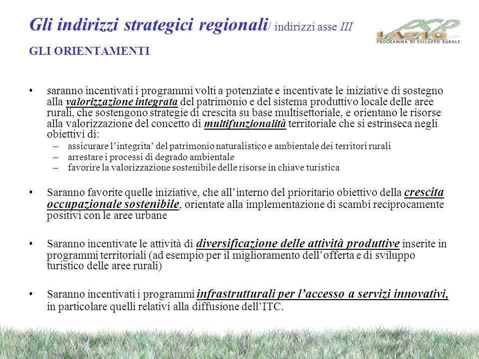 Gli indirizzi strategici regionali / indirizzi asse III GLI ORIENTAMENTI saranno incentivati i programmi volti a potenziate e incentivate le iniziative di sostegno alla valorizzazione integrata del patrimonio e del sistema produttivo locale delle aree rurali, che sostengono strategie di crescita su base multisettoriale, e orientano le risorse alla valorizzazione del concetto di multifunzionalità territoriale che si estrinseca negli obiettivi di: –assicurare lintegrita del patrimonio naturalistico e ambientale dei territori rurali –arrestare i processi di degrado ambientale –favorire la valorizzazione sostenibile delle risorse in chiave turistica Saranno favorite quelle iniziative, che allinterno del prioritario obiettivo della crescita occupazionale sostenibile, orientate alla implementazione di scambi reciprocamente positivi con le aree urbane Saranno incentivate le attività di diversificazione delle attività produttive inserite in programmi territoriali (ad esempio per il miglioramento dellofferta e di sviluppo turistico delle aree rurali) Saranno incentivati i programmi infrastrutturali per laccesso a servizi innovativi, in particolare quelli relativi alla diffusione dellITC.