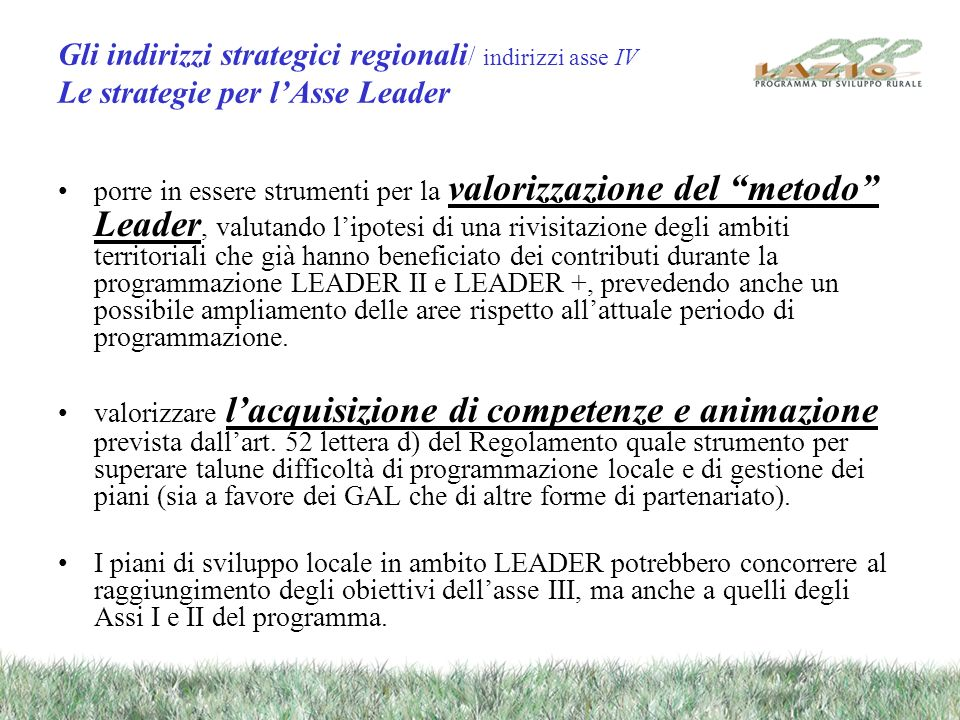 Gli indirizzi strategici regionali / indirizzi asse IV Le strategie per lAsse Leader porre in essere strumenti per la valorizzazione del metodo Leader