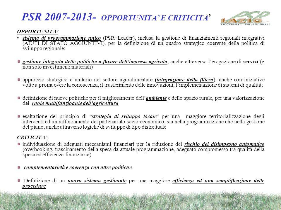 PSR 2007-2013- OPPORTUNITA E CRITICITA OPPORTUNITA sistema di programmazione unico (PSR+Leader), inclusa la gestione di finanziamenti regionali integr
