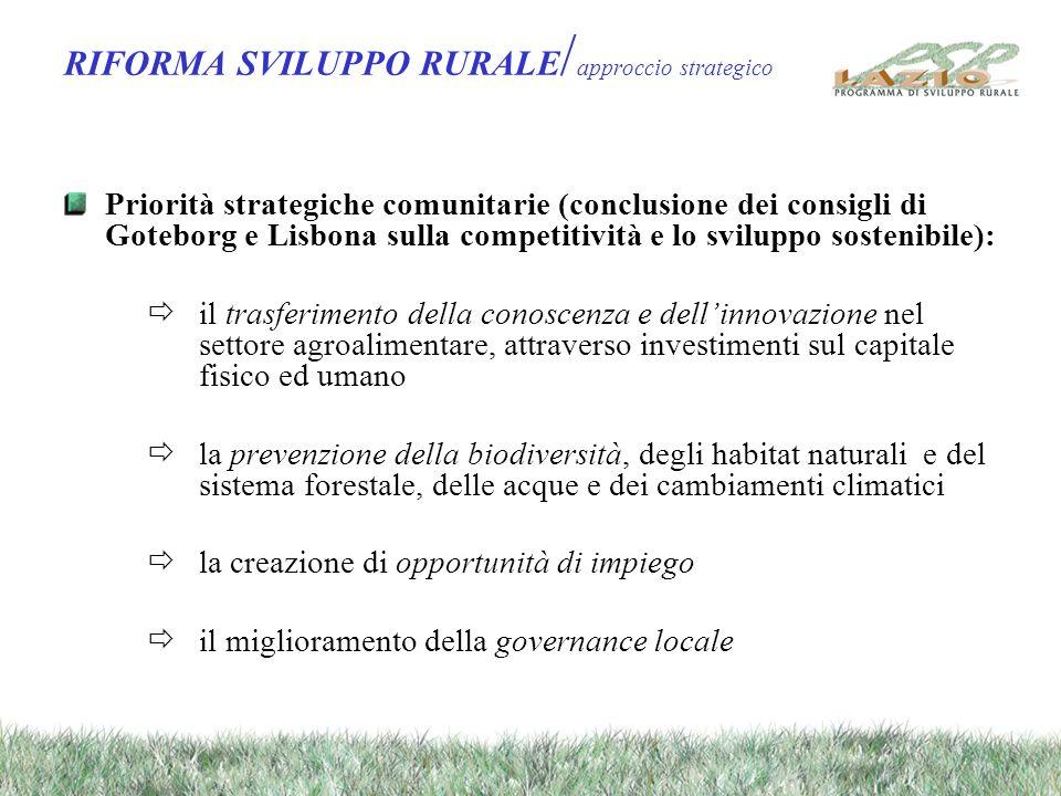 RIFORMA SVILUPPO RURALE / approccio strategico Priorità strategiche comunitarie (conclusione dei consigli di Goteborg e Lisbona sulla competitività e