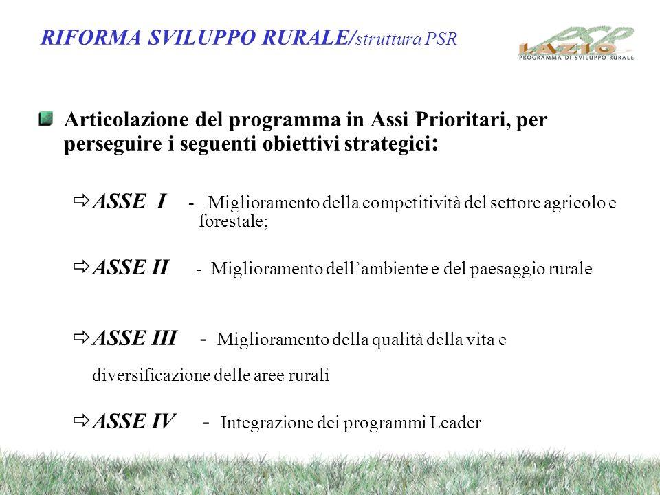 RIFORMA SVILUPPO RURALE/ struttura PSR Articolazione del programma in Assi Prioritari, per perseguire i seguenti obiettivi strategici : ASSE I - Migli