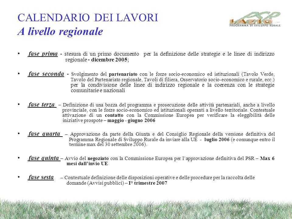 CALENDARIO DEI LAVORI A livello regionale fase prima - stesura di un primo documento per la definizione delle strategie e le linee di indirizzo region
