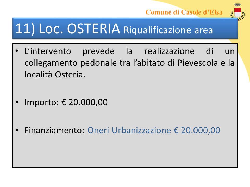 11) Loc. OSTERIA Riqualificazione area Lintervento prevede la realizzazione di un collegamento pedonale tra labitato di Pievescola e la località Oster
