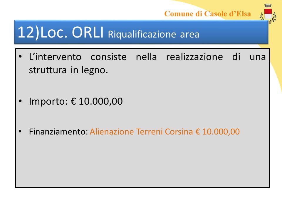 12)Loc. ORLI Riqualificazione area Lintervento consiste nella realizzazione di una struttura in legno. Importo: 10.000,00 Finanziamento: Alienazione T