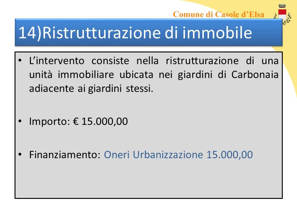 14)Ristrutturazione di immobile Lintervento consiste nella ristrutturazione di una unità immobiliare ubicata nei giardini di Carbonaia adiacente ai gi
