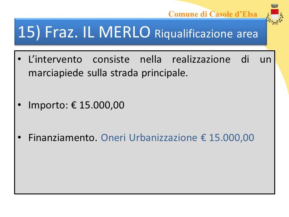15) Fraz. IL MERLO Riqualificazione area Lintervento consiste nella realizzazione di un marciapiede sulla strada principale. Importo: 15.000,00 Finanz