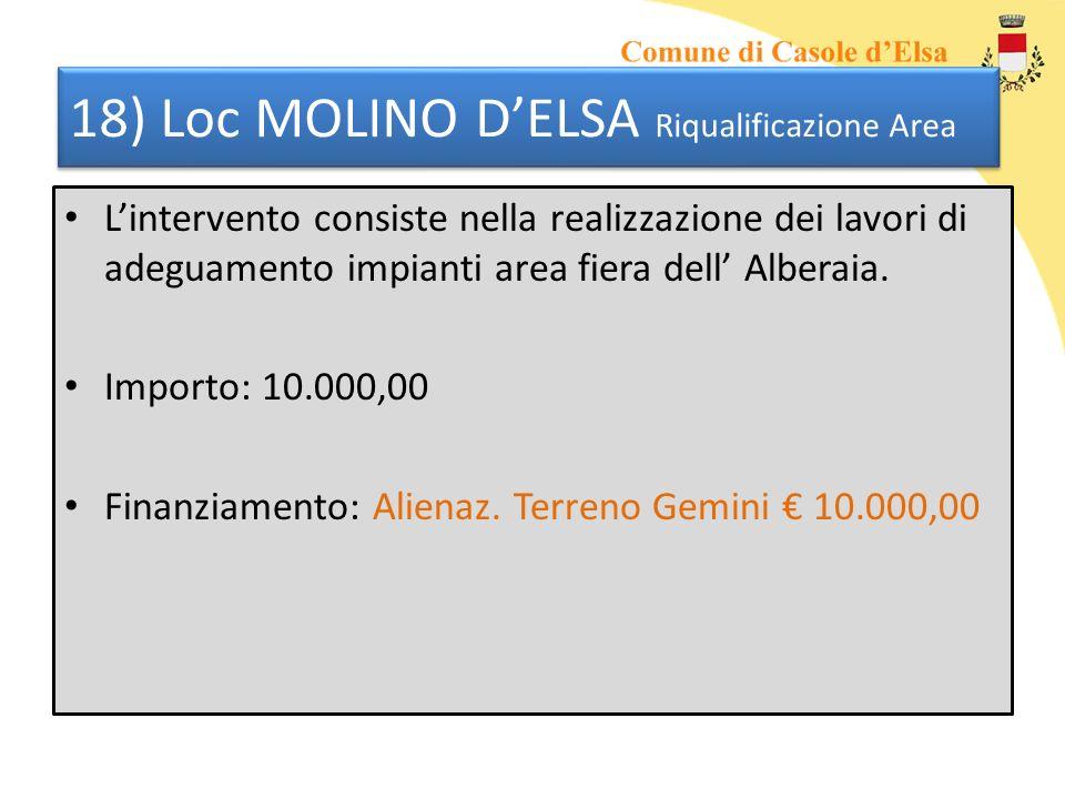 18) Loc MOLINO DELSA Riqualificazione Area Lintervento consiste nella realizzazione dei lavori di adeguamento impianti area fiera dell Alberaia. Impor