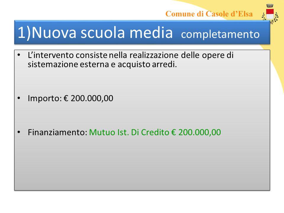 1)Nuova scuola media completamento Lintervento consiste nella realizzazione delle opere di sistemazione esterna e acquisto arredi. Importo: 200.000,00