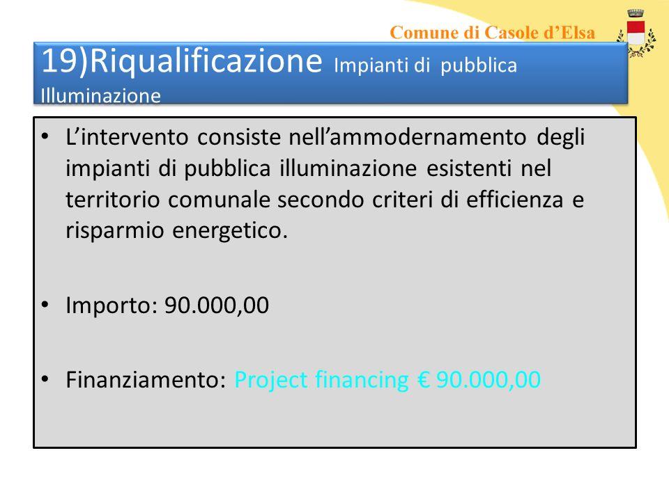 19)Riqualificazione Impianti di pubblica Illuminazione Lintervento consiste nellammodernamento degli impianti di pubblica illuminazione esistenti nel territorio comunale secondo criteri di efficienza e risparmio energetico.