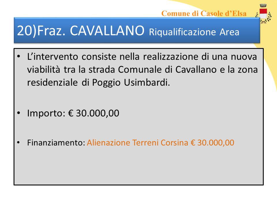 20)Fraz. CAVALLANO Riqualificazione Area Lintervento consiste nella realizzazione di una nuova viabilità tra la strada Comunale di Cavallano e la zona