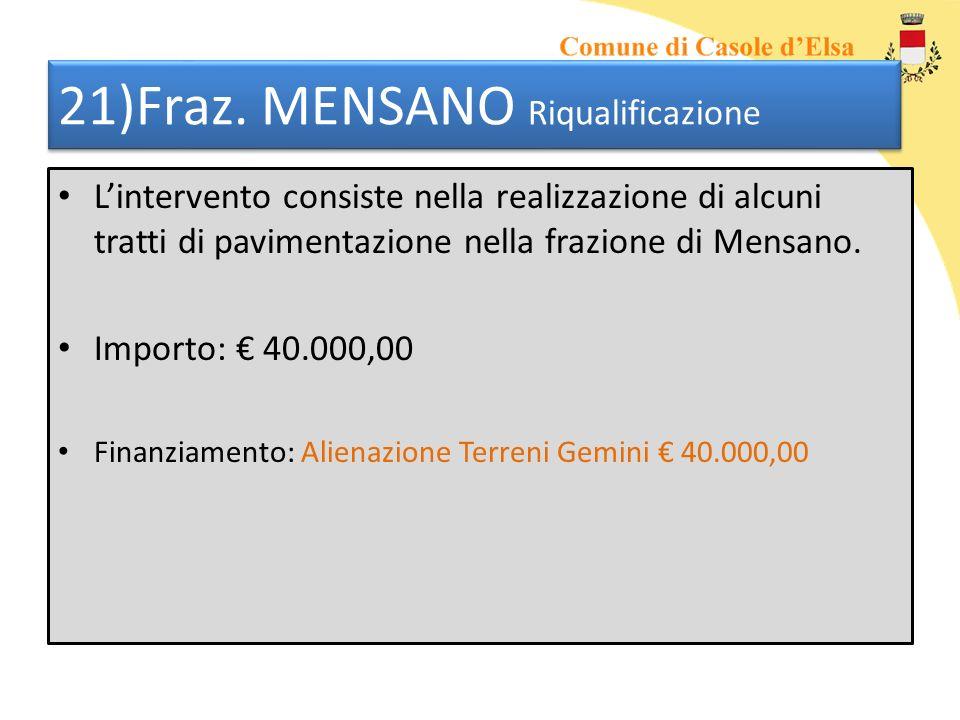 21)Fraz. MENSANO Riqualificazione Lintervento consiste nella realizzazione di alcuni tratti di pavimentazione nella frazione di Mensano. Importo: 40.0