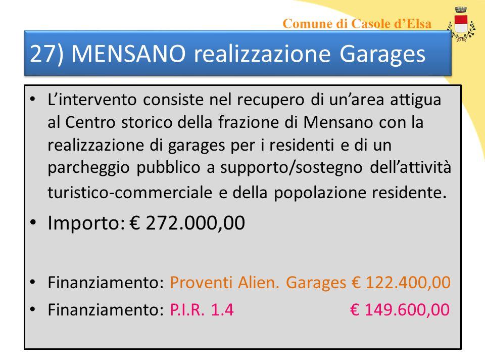 27) MENSANO realizzazione Garages Lintervento consiste nel recupero di unarea attigua al Centro storico della frazione di Mensano con la realizzazione