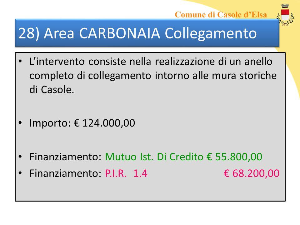 28) Area CARBONAIA Collegamento Lintervento consiste nella realizzazione di un anello completo di collegamento intorno alle mura storiche di Casole. I