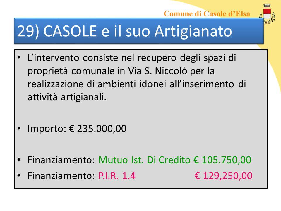 29) CASOLE e il suo Artigianato Lintervento consiste nel recupero degli spazi di proprietà comunale in Via S. Niccolò per la realizzazione di ambienti